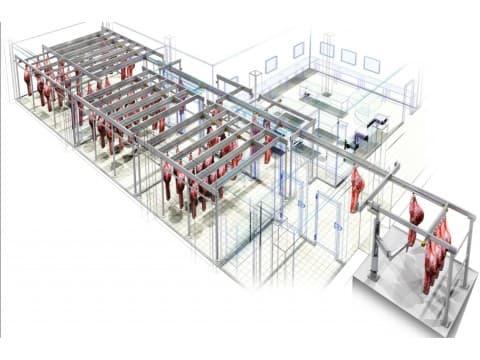 Проект подвесных путей для мясного супермаркета