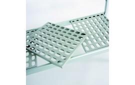 Алюминиевый стеллаж с пластиковыми полками