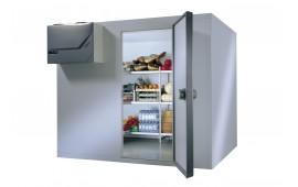 Стеллажи из анодированного алюминия Italmodular для холодильной камеры. Стеллаж с угловым креплением и тремя полками.
