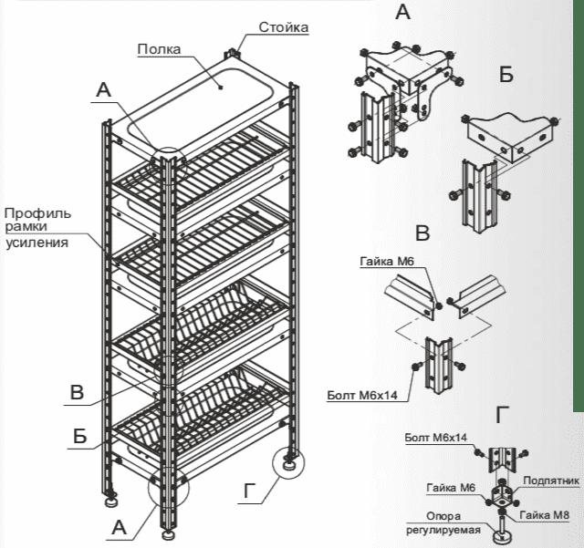 Схема сборки стеллажей для сушки посуды