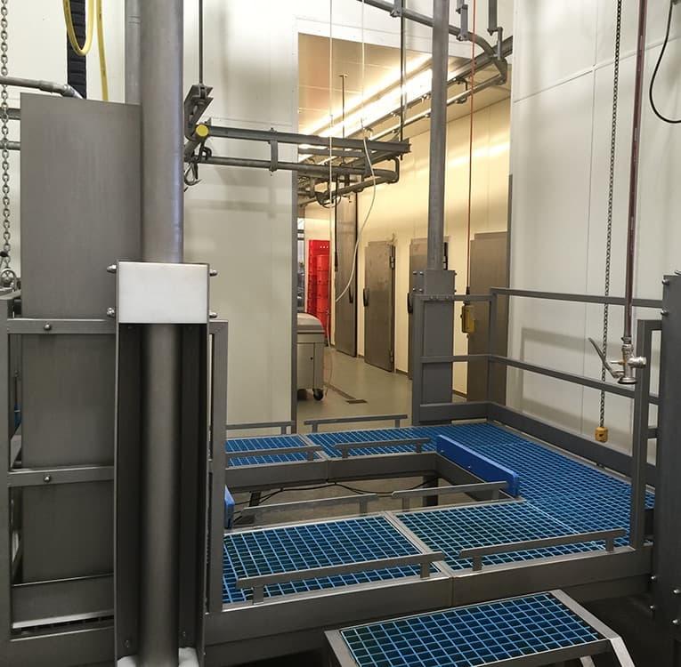 Подъемные платформы для мясных заводов