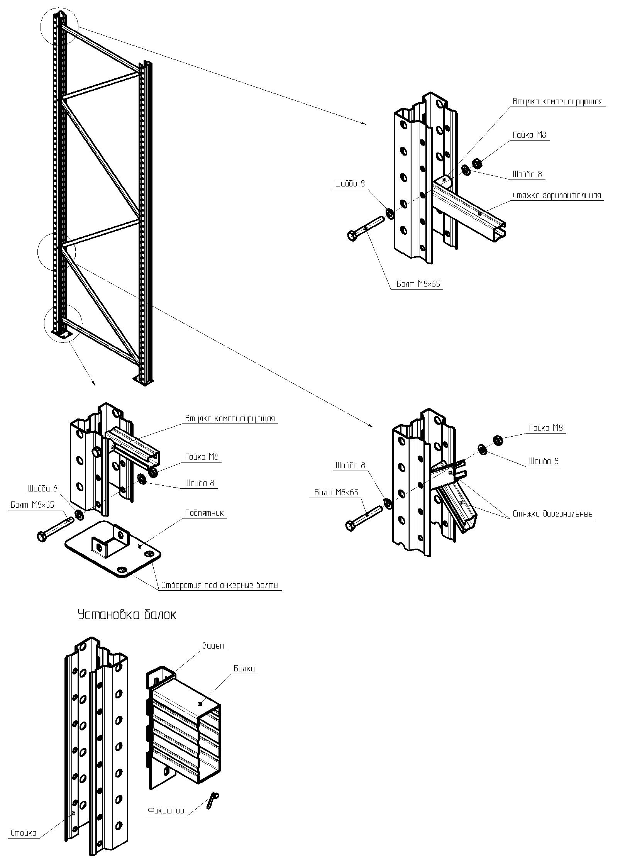 Схема сборки складских стеллажей
